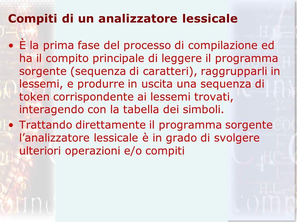 Compiti di un analizzatore lessicale È la prima fase del processo di compilazione ed ha il compito principale di leggere il programma sorgente (sequen