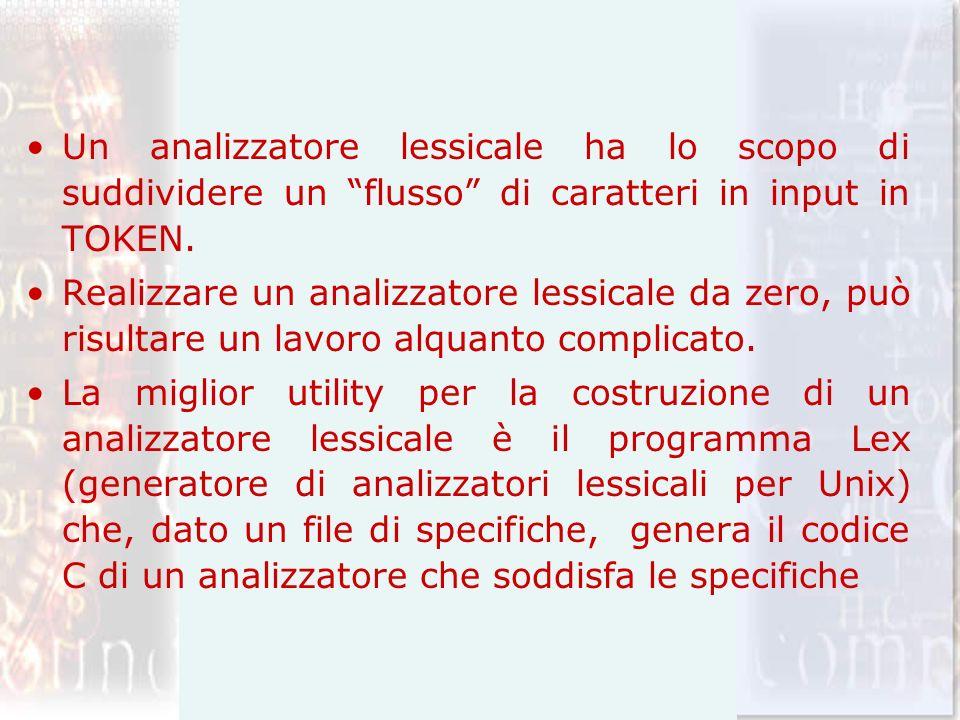 Un analizzatore lessicale ha lo scopo di suddividere un flusso di caratteri in input in TOKEN. Realizzare un analizzatore lessicale da zero, può risul