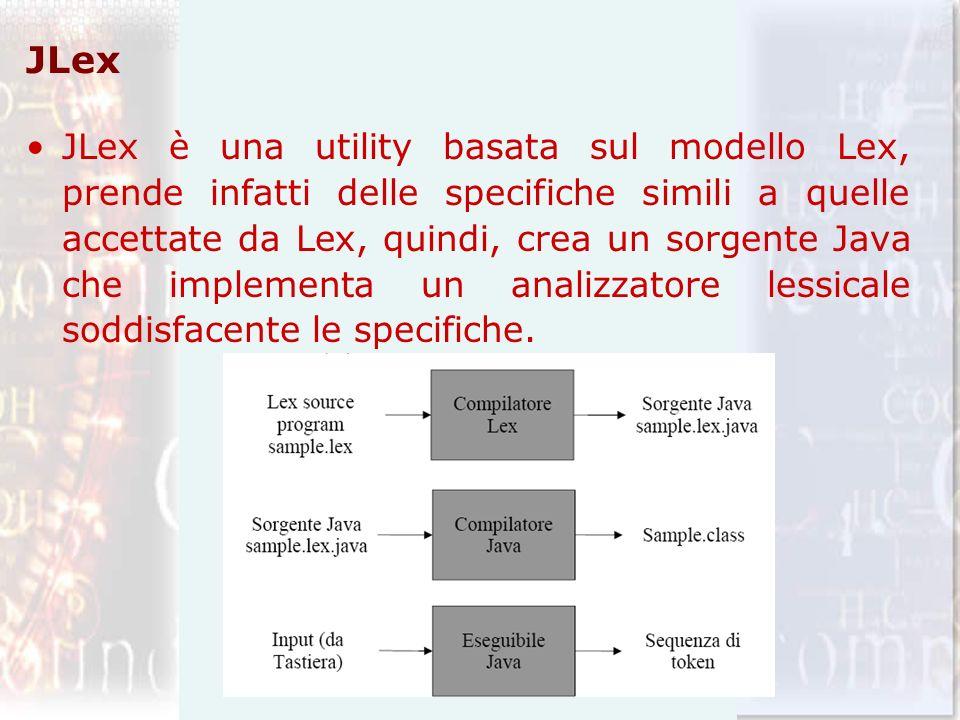 JLex JLex è una utility basata sul modello Lex, prende infatti delle specifiche simili a quelle accettate da Lex, quindi, crea un sorgente Java che im
