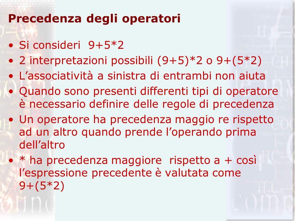 Precedenza degli operatori Si consideri 9+5*2 2 interpretazioni possibili (9+5)*2 o 9+(5*2) Lassociatività a sinistra di entrambi non aiuta Quando son