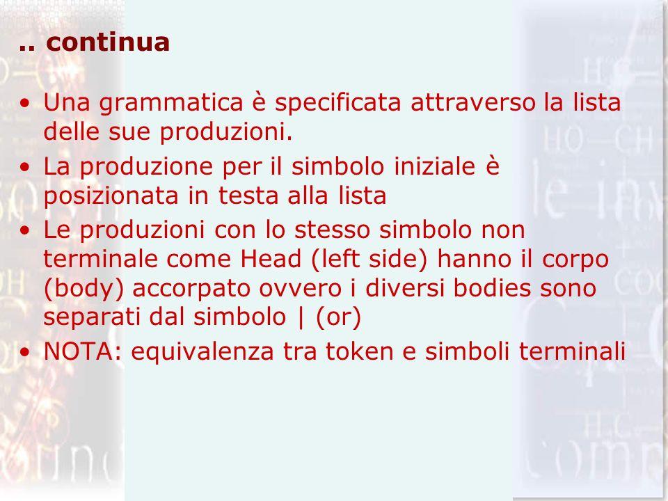 .. continua Una grammatica è specificata attraverso la lista delle sue produzioni. La produzione per il simbolo iniziale è posizionata in testa alla l
