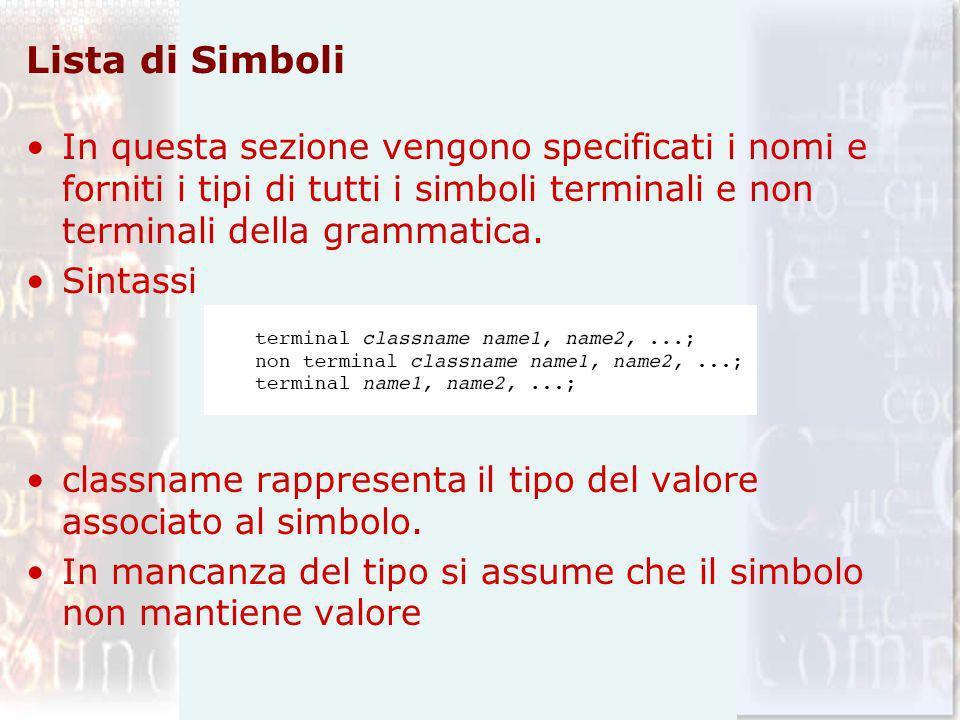 Lista di Simboli In questa sezione vengono specificati i nomi e forniti i tipi di tutti i simboli terminali e non terminali della grammatica.