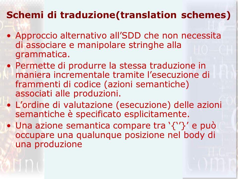 Schemi di traduzione(translation schemes) Approccio alternativo allSDD che non necessita di associare e manipolare stringhe alla grammatica. Permette