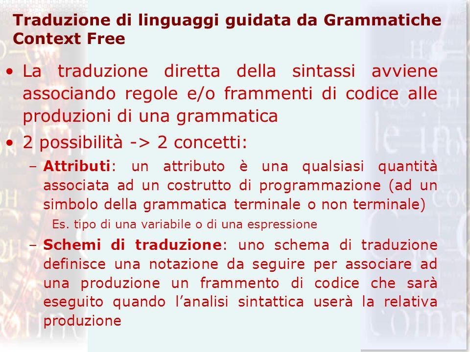 Traduzione di linguaggi guidata da Grammatiche Context Free La traduzione diretta della sintassi avviene associando regole e/o frammenti di codice all