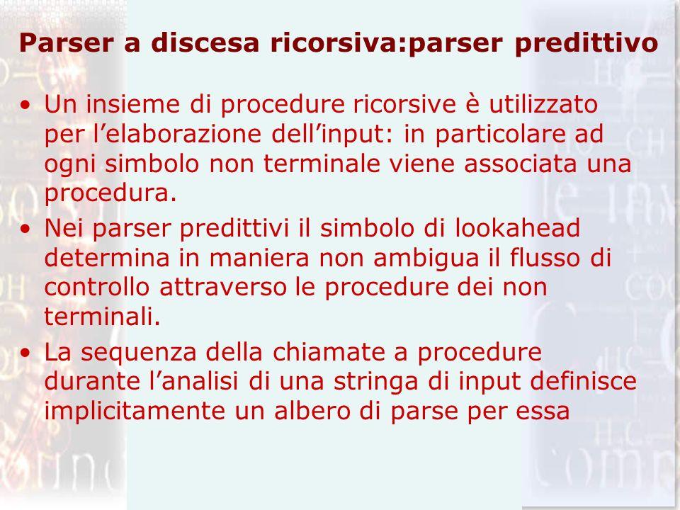 Parser a discesa ricorsiva:parser predittivo Un insieme di procedure ricorsive è utilizzato per lelaborazione dellinput: in particolare ad ogni simbol
