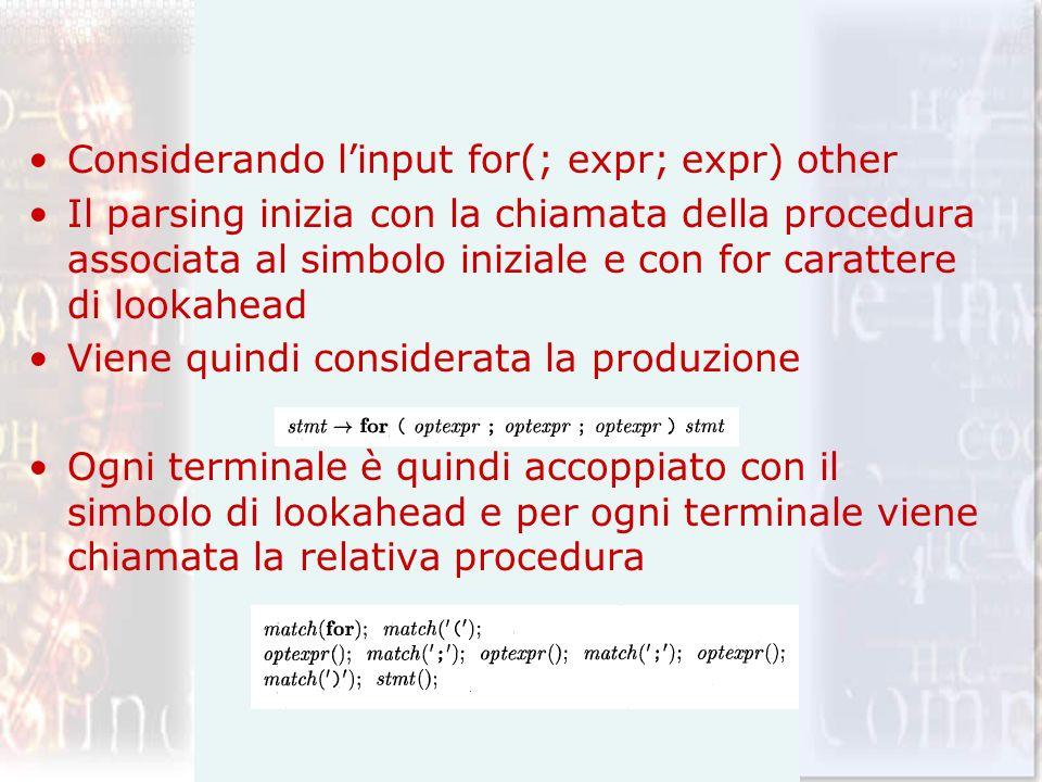 Considerando linput for(; expr; expr) other Il parsing inizia con la chiamata della procedura associata al simbolo iniziale e con for carattere di loo