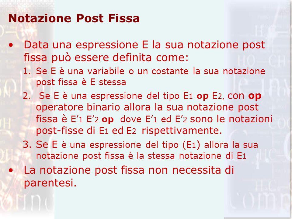 Notazione Post Fissa Data una espressione E la sua notazione post fissa può essere definita come: 1.Se E è una variabile o un costante la sua notazion