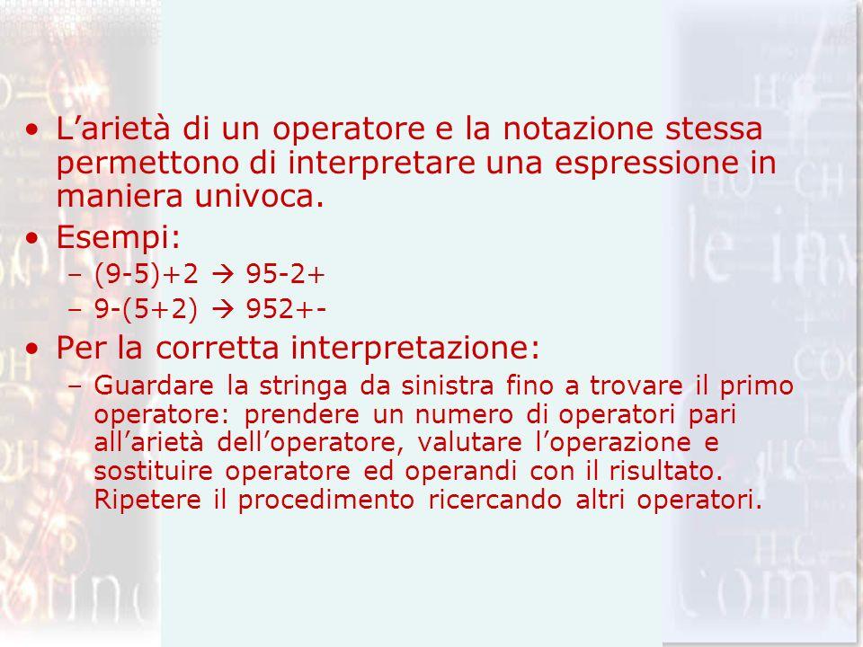 Larietà di un operatore e la notazione stessa permettono di interpretare una espressione in maniera univoca. Esempi: –(9-5)+2 95-2+ –9-(5+2) 952+- Per