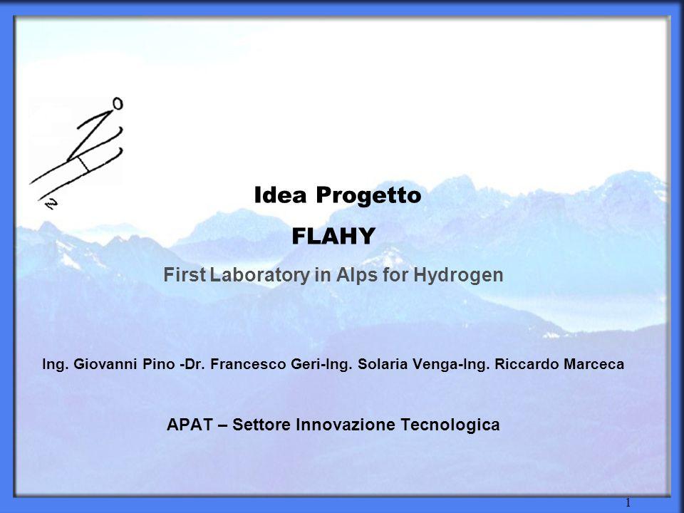2 FLAHY FLAHY: First Laboratory in Alps for Hydrogen Lidea progetto FLAHY (First Laboratory in Alps for Hydrogen), nata in APAT, aveva come obiettivo principale quello di promuovere un utilizzo sostenibile dellidrogeno nel sistema di trasporto nelle zone alpine.
