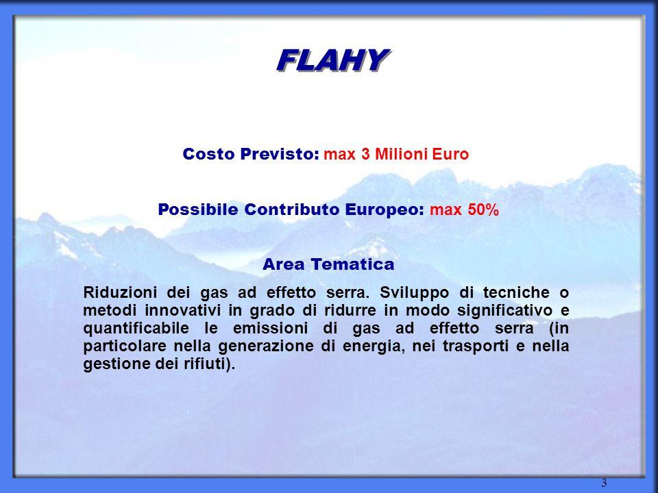 3 FLAHY Costo Previsto: max 3 Milioni Euro Possibile Contributo Europeo: max 50% Area Tematica Riduzioni dei gas ad effetto serra.