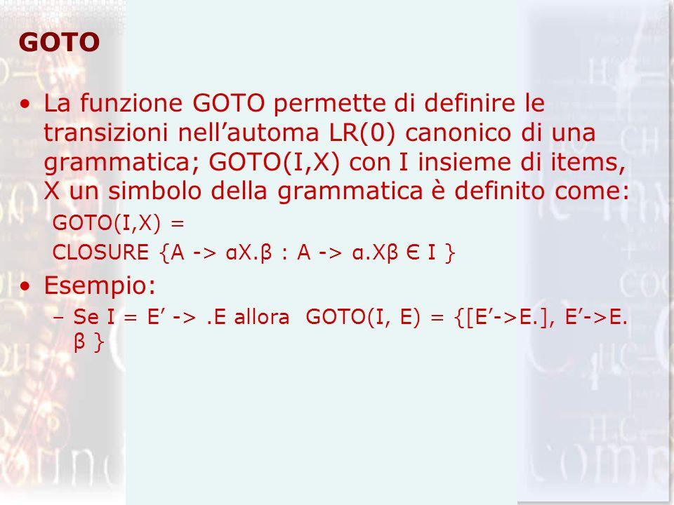 GOTO La funzione GOTO permette di definire le transizioni nellautoma LR(0) canonico di una grammatica; GOTO(I,X) con I insieme di items, X un simbolo della grammatica è definito come: GOTO(I,X) = CLOSURE {A -> αX.β : A -> α.Xβ Є I } Esempio: –Se I = E ->.E allora GOTO(I, E) = {[E->E.], E->E.