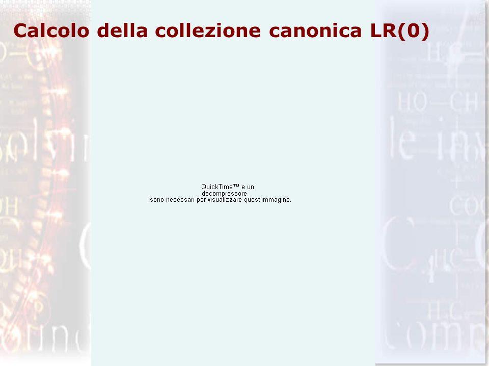 Calcolo della collezione canonica LR(0)