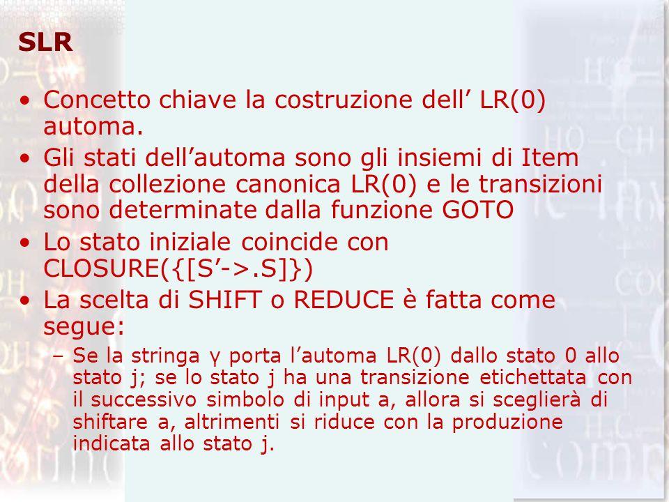 SLR Concetto chiave la costruzione dell LR(0) automa.