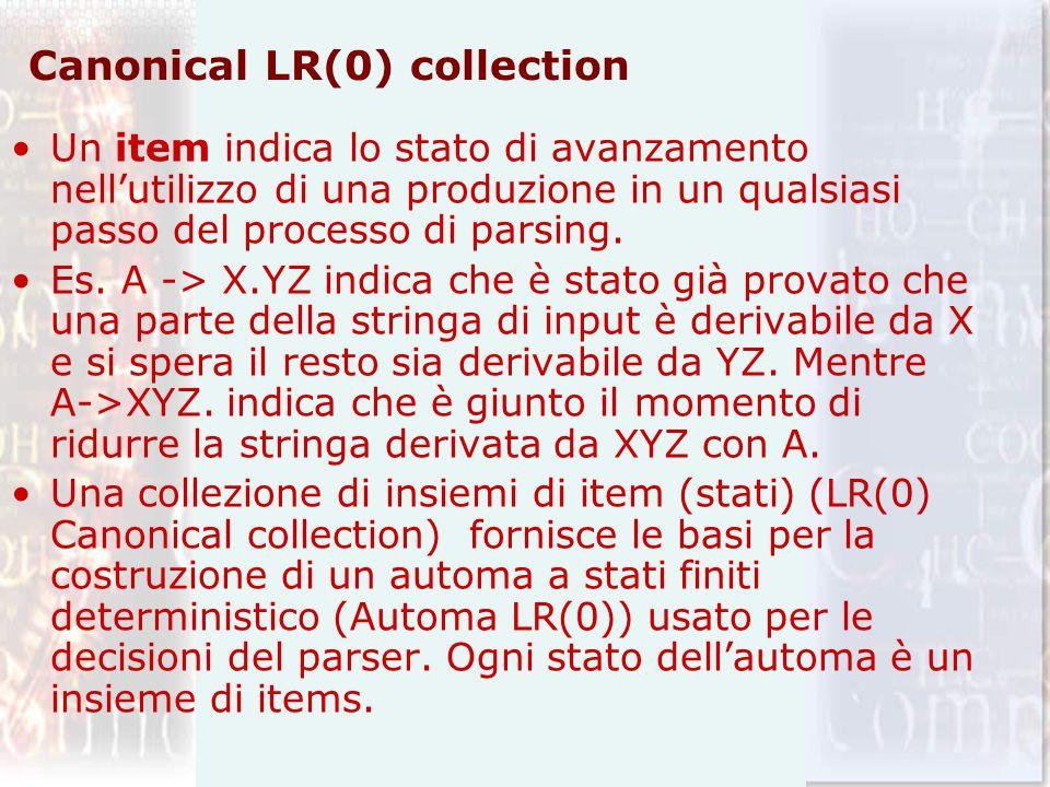 Grammatica Aumentata Per la costruzione della collezione LR(0) canonica di una data grammatica si definisce una grammatica aumentata (argumented grammar) e due funzioni CLOSURE e GOTO.