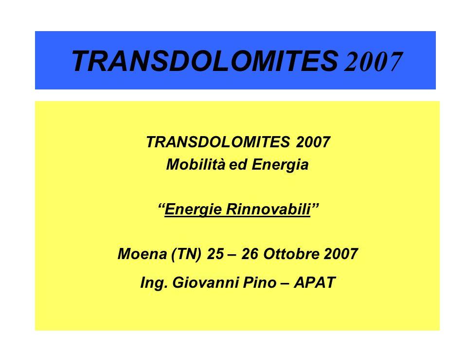 2 TRANSDOLOMITES 2007 Situazione Energie Rinnovabili in Italia nel 2005 Consumi Elettrici Totali (2005): 310.000.000 MWh (310 TWh) Potenza media netta Totale( 2005): 47.185 MW (47,185 GWh) Idrica 10,70% 72,80% Biomasse 1,80% 12,24% Geotermica 1,50% 10,20% Eolica 0,70% 4,76% Totale 14,70% 100%