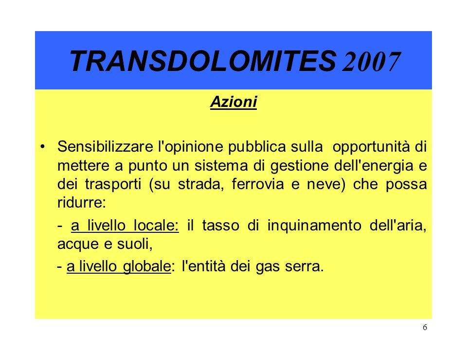 7 TRANSDOLOMITES 2007 La Produzione e l utilizzo di Energia Rinnovabile e Combustibili eco-compatibili sono alla base di questo nuovo sistema.