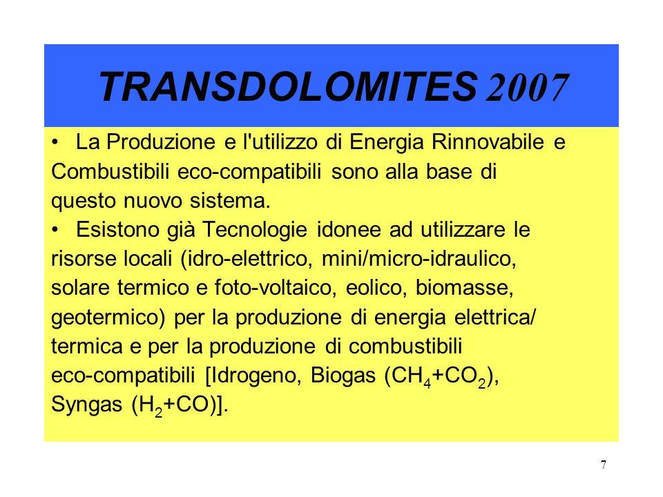 8 TRANSDOLOMITES 2007 Oggi siamo ad un punto di svolta: La Comunità Europea incalza con Programmi comunitari sullAmbiente: VII FP (Energie Rinnovabili), Spazio Alpino (INTERREG), IEE (Intelligent Energy for Europe), con finanziamenti al 50% su Progetti proposti ed approvati dalla stessa Comunità.
