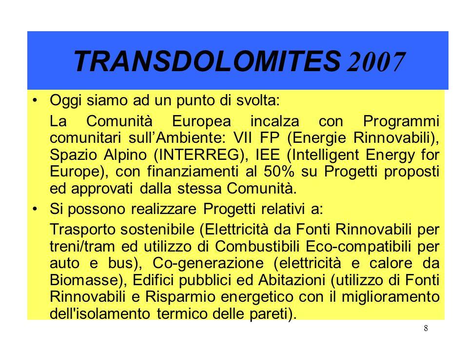 9 TRANSDOLOMITES 2007 Occorre ricordare agli Amministratori locali la necessità di utilizzare il più possibile le Fonti Rinnovabili: Solare Termico e Fotovoltaico, Mini/Micro-Hydro, Biomasse (umide e solide), Eolico (dove possibile), Geotermico, Altre……