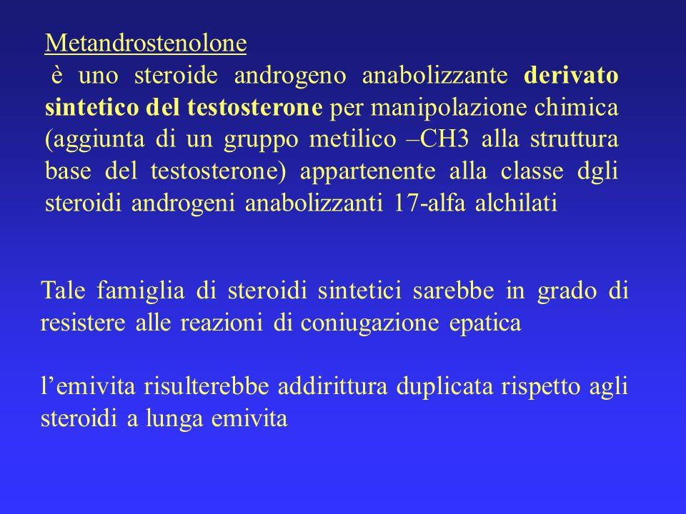 Metandrostenolone è uno steroide androgeno anabolizzante derivato sintetico del testosterone per manipolazione chimica (aggiunta di un gruppo metilico