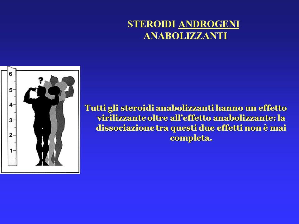 Tutti gli steroidi anabolizzanti hanno un effetto virilizzante oltre alleffetto anabolizzante: la dissociazione tra questi due effetti non è mai compl