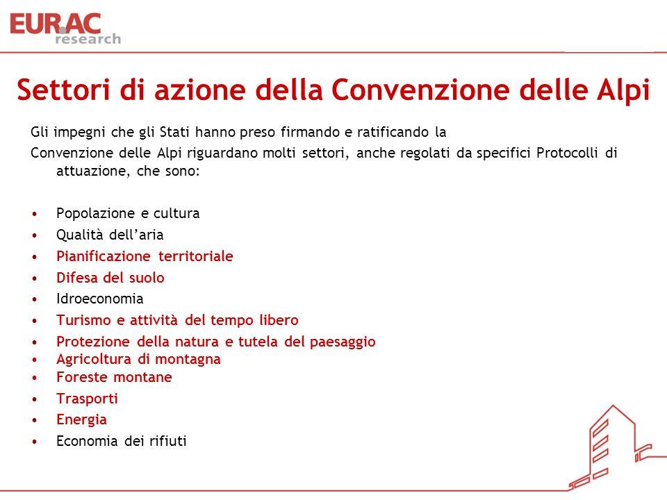 Settori di azione della Convenzione delle Alpi Gli impegni che gli Stati hanno preso firmando e ratificando la Convenzione delle Alpi riguardano molti