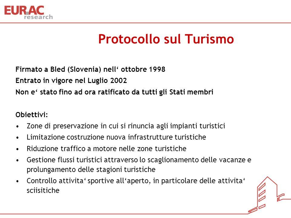 Protocollo sul Turismo Firmato a Bled (Slovenia) nell ottobre 1998 Entrato in vigore nel Luglio 2002 Non e stato fino ad ora ratificato da tutti gli S