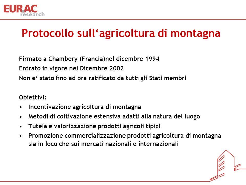 Protocollo sullagricoltura di montagna Firmato a Chambery (Francia)nel dicembre 1994 Entrato in vigore nel Dicembre 2002 Non e stato fino ad ora ratif