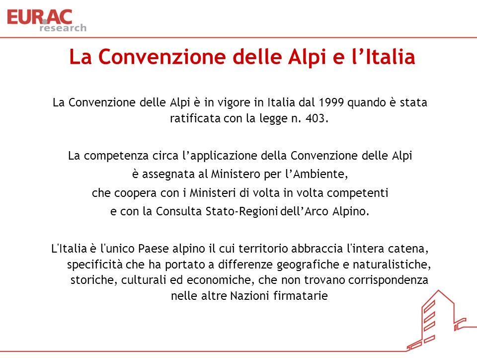 La Convenzione delle Alpi e lItalia La Convenzione delle Alpi è in vigore in Italia dal 1999 quando è stata ratificata con la legge n. 403. La compete