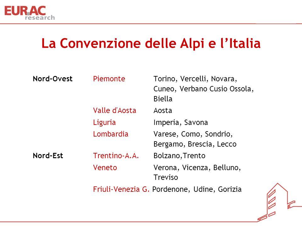 La Convenzione delle Alpi e lItalia Nord-OvestPiemonteTorino, Vercelli, Novara, Cuneo, Verbano Cusio Ossola, Biella Valle d'Aosta Aosta LiguriaImperia