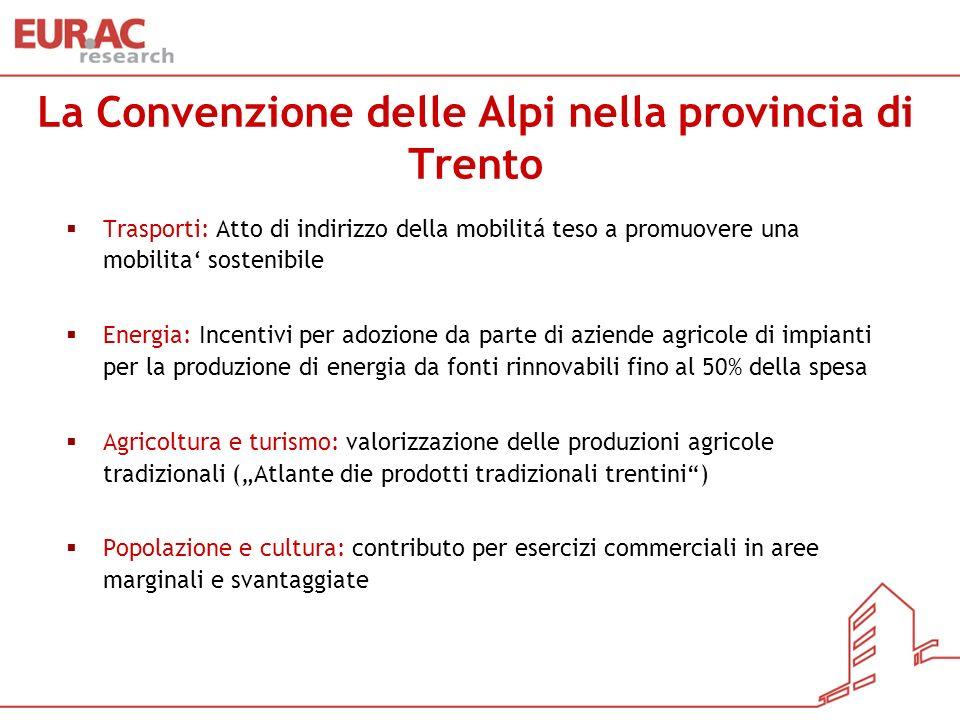 La Convenzione delle Alpi nella provincia di Trento Trasporti: Atto di indirizzo della mobilitá teso a promuovere una mobilita sostenibile Energia: In