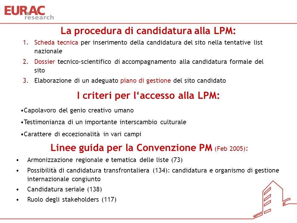 La procedura di candidatura alla LPM: 1.Scheda tecnica 1.Scheda tecnica per inserimento della candidatura del sito nella tentative list nazionale 2.Do