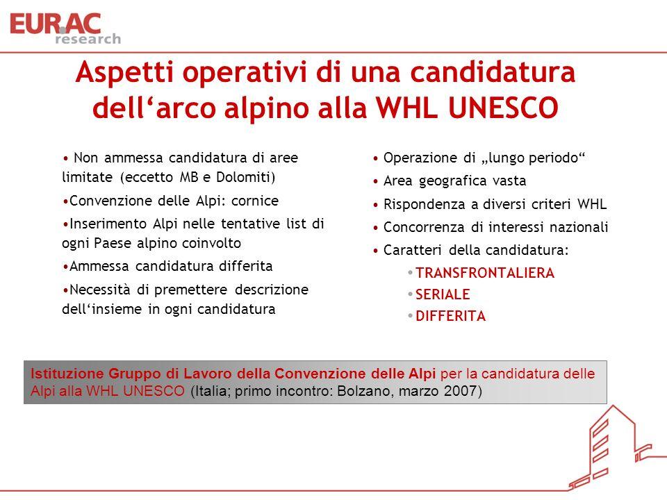 Aspetti operativi di una candidatura dellarco alpino alla WHL UNESCO Non ammessa candidatura di aree limitate (eccetto MB e Dolomiti) Convenzione dell
