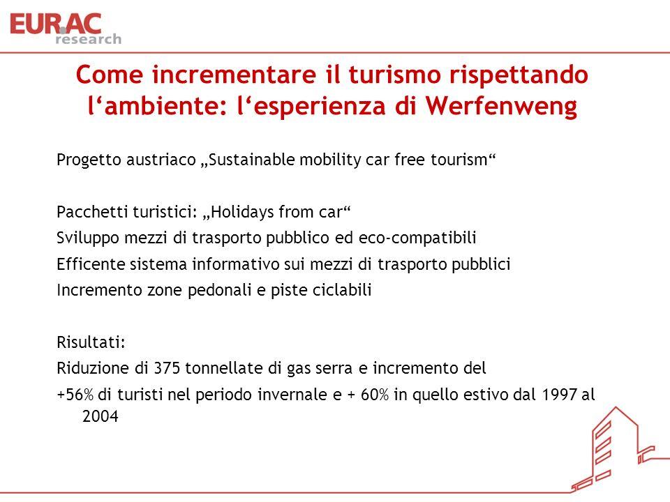 Come incrementare il turismo rispettando lambiente: lesperienza di Werfenweng Progetto austriaco Sustainable mobility car free tourism Pacchetti turis