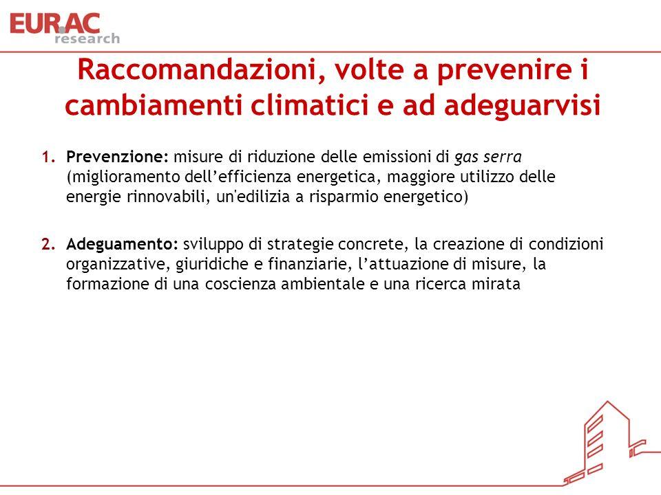 Raccomandazioni, volte a prevenire i cambiamenti climatici e ad adeguarvisi 1.Prevenzione: misure di riduzione delle emissioni di gas serra (miglioram