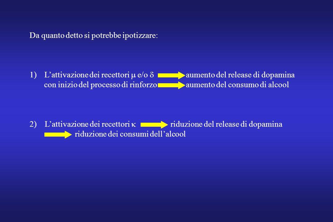 Da quanto detto si potrebbe ipotizzare: 1)Lattivazione dei recettori e/o aumento del release di dopamina con inizio del processo di rinforzo aumento d