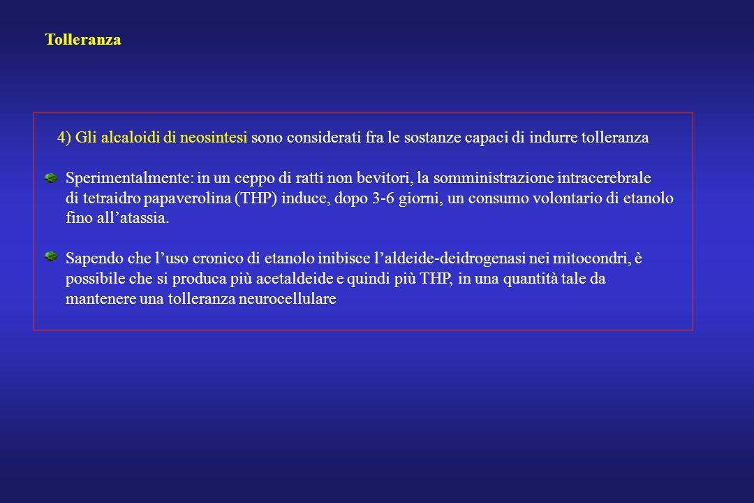 Tolleranza 4) Gli alcaloidi di neosintesi sono considerati fra le sostanze capaci di indurre tolleranza Sperimentalmente: in un ceppo di ratti non bev