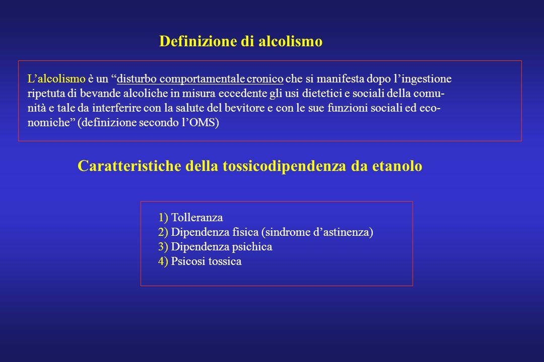 Definizione di alcolismo Lalcolismo è un disturbo comportamentale cronico che si manifesta dopo lingestione ripetuta di bevande alcoliche in misura ec