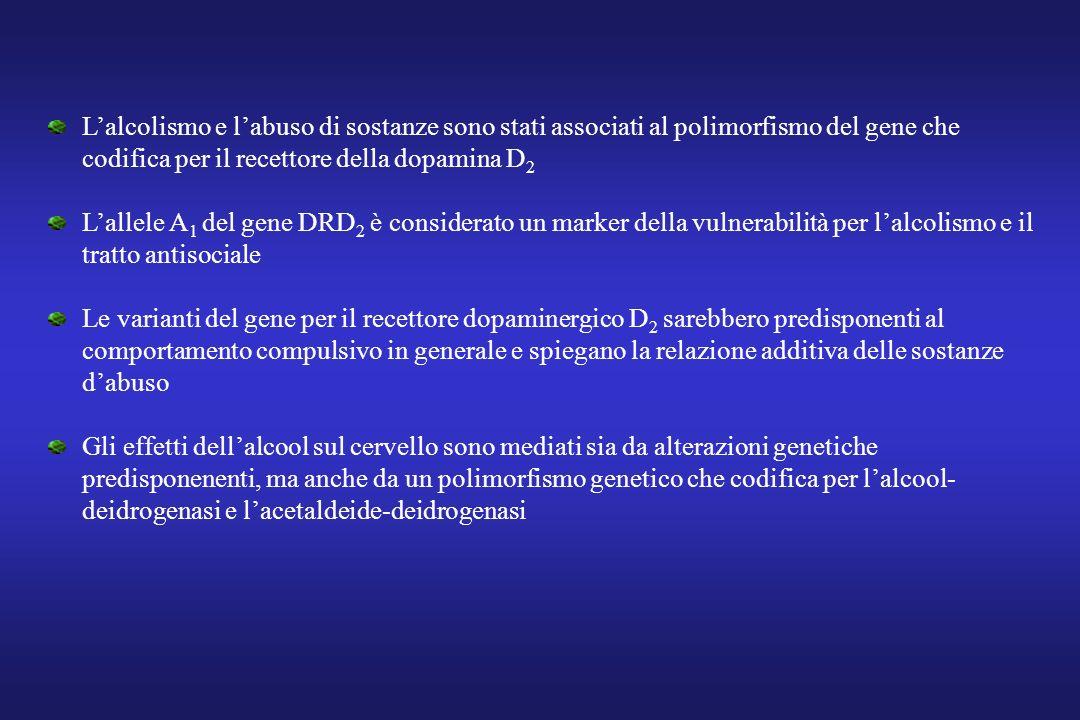 Lalcolismo e labuso di sostanze sono stati associati al polimorfismo del gene che codifica per il recettore della dopamina D 2 Lallele A 1 del gene DR
