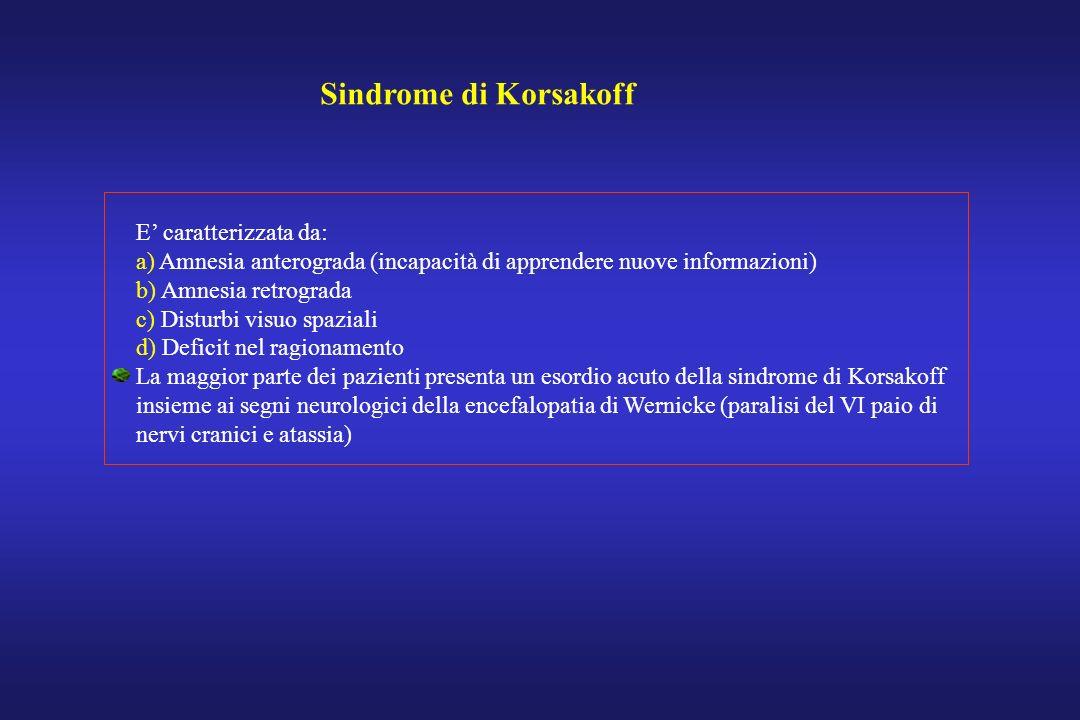 Sindrome di Korsakoff E caratterizzata da: a) Amnesia anterograda (incapacità di apprendere nuove informazioni) b) Amnesia retrograda c) Disturbi visu