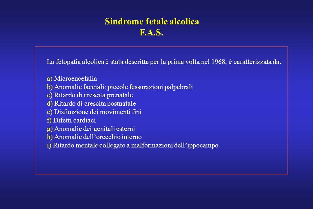 Sindrome fetale alcolica F.A.S. La fetopatia alcolica è stata descritta per la prima volta nel 1968, è caratterizzata da: a) Microencefalia b) Anomali