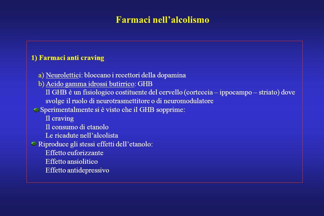 Farmaci nellalcolismo 1) Farmaci anti craving a) Neurolettici: bloccano i recettori della dopamina b) Acido gamma idrossi butirrico: GHB Il GHB è un f