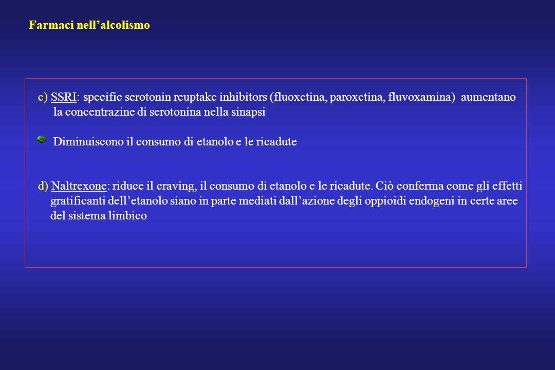 Farmaci nellalcolismo c) SSRI: specific serotonin reuptake inhibitors (fluoxetina, paroxetina, fluvoxamina) aumentano la concentrazine di serotonina n