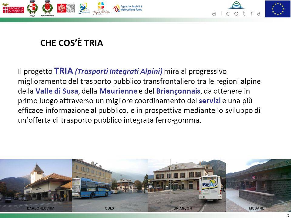 3 CHE COSÈ TRIA Il progetto TRIA (Trasporti Integrati Alpini) mira al progressivo miglioramento del trasporto pubblico transfrontaliero tra le regioni