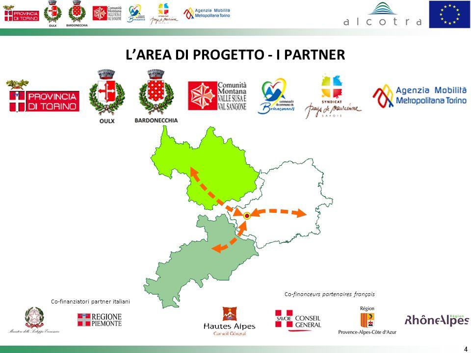 4 LAREA DI PROGETTO - I PARTNER Co-finanziatori partner italiani Co-financeurs partenaires français