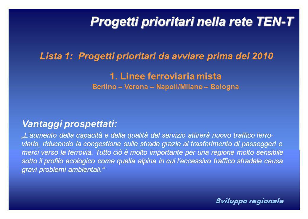 Sviluppo regionale 1. Linee ferroviaria mista Berlino – Verona – Napoli/Milano – Bologna Vantaggi prospettati: Laumento della capacità e della qualità