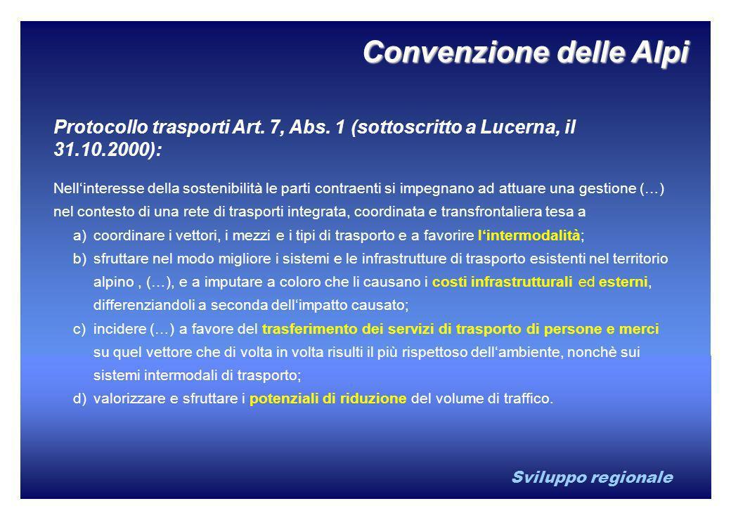 Sviluppo regionale Convenzione delle Alpi Protocollo trasporti Art. 7, Abs. 1 (sottoscritto a Lucerna, il 31.10.2000): Nellinteresse della sostenibili