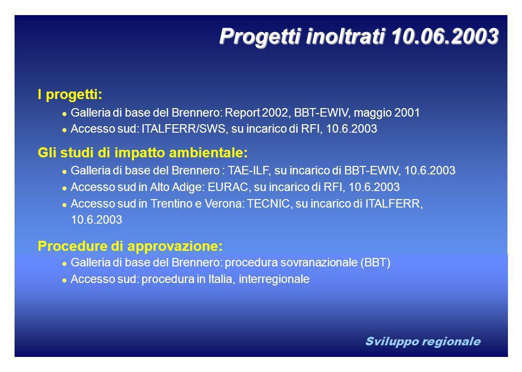 Sviluppo regionale Progetti inoltrati 10.06.2003 I progetti: Galleria di base del Brennero: Report 2002, BBT-EWIV, maggio 2001 Accesso sud: ITALFERR/S