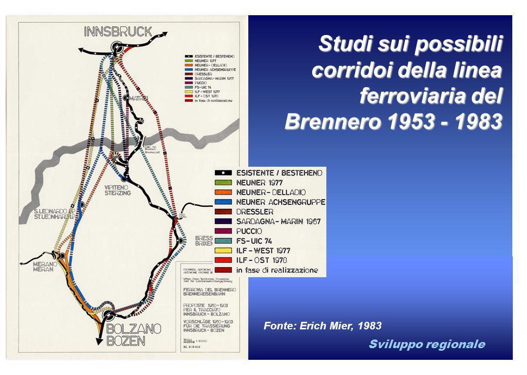 Sviluppo regionale Studi sui possibili corridoi della linea ferroviaria del Brennero 1953 - 1983 Fonte: Erich Mier, 1983