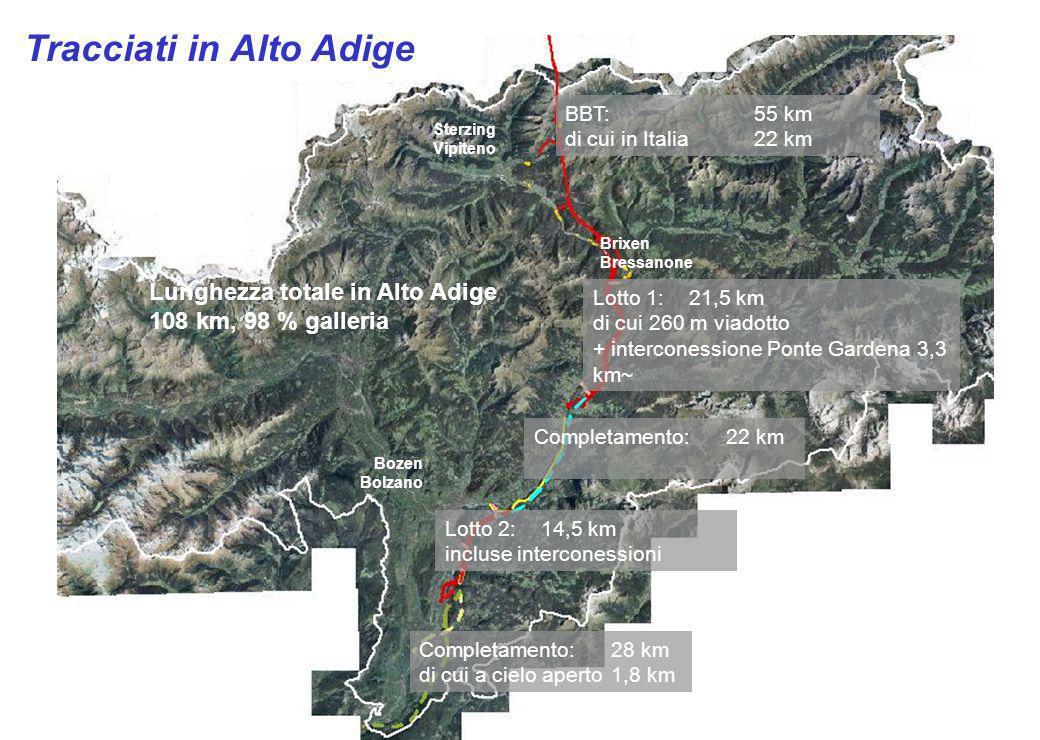 Sterzing Vipiteno Brixen Bressanone Bozen Bolzano BBT:55 km di cui in Italia 22 km Lotto 1: 21,5 km di cui 260 m viadotto + interconessione Ponte Gard