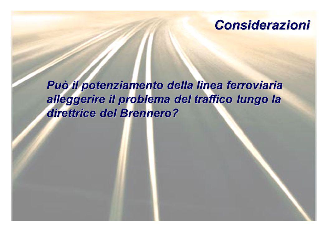 Considerazioni Può il potenziamento della linea ferroviaria alleggerire il problema del traffico lungo la direttrice del Brennero?